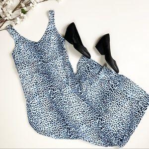 J McLaughlin Villa Maxi Dress in blue cheetah